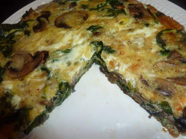 Kitchen Diaries Challenge 2013: Mushroom, Spinach and Leek Frittata