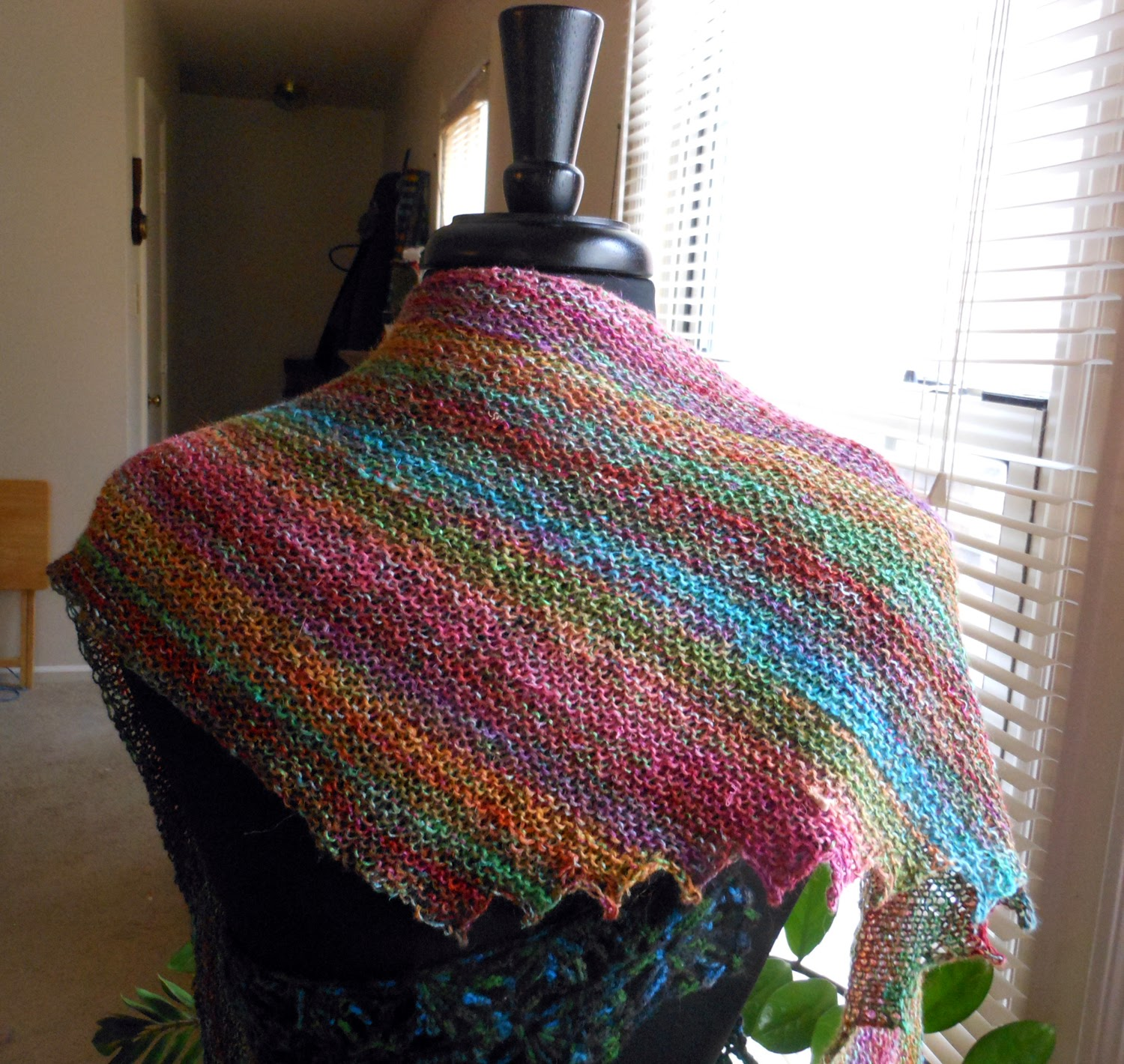 Hitchhiker shawl knit from Noro Katsura for my mom Mom loves Noro and  Mother In Law Lion Brand Free Knitted Scarf Patterns