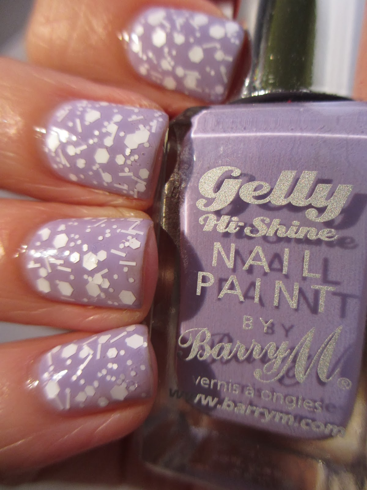 Barry-M-Gelly-Prickly-Pear-Lilac-Claire's-Fluffy-white-glitter-nail-polish