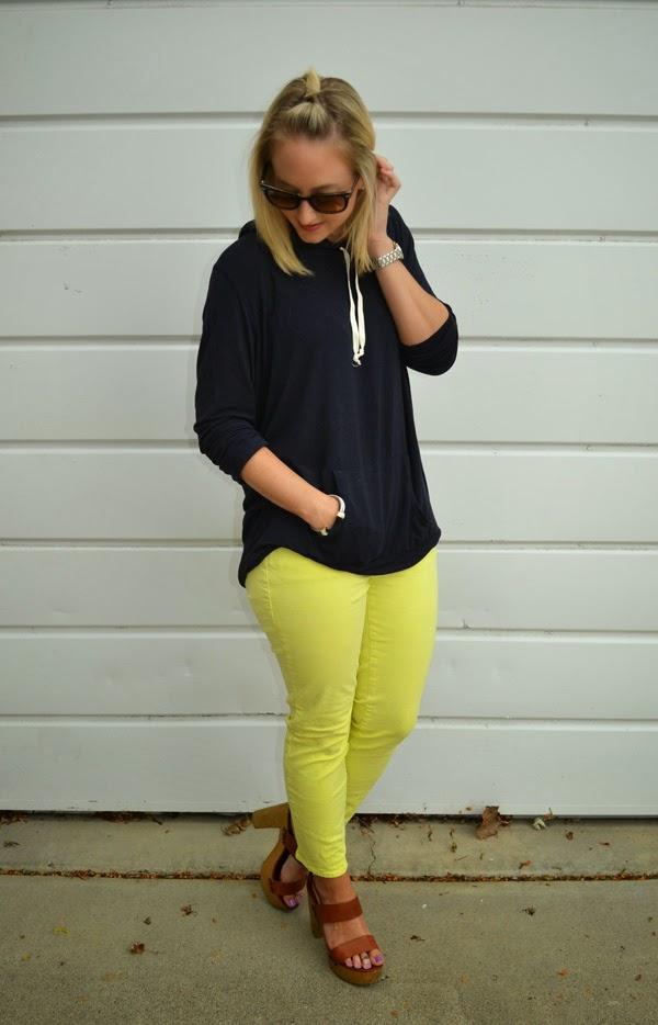 Brandy Melville sweatshirt, Ann Taylor yellow jeans