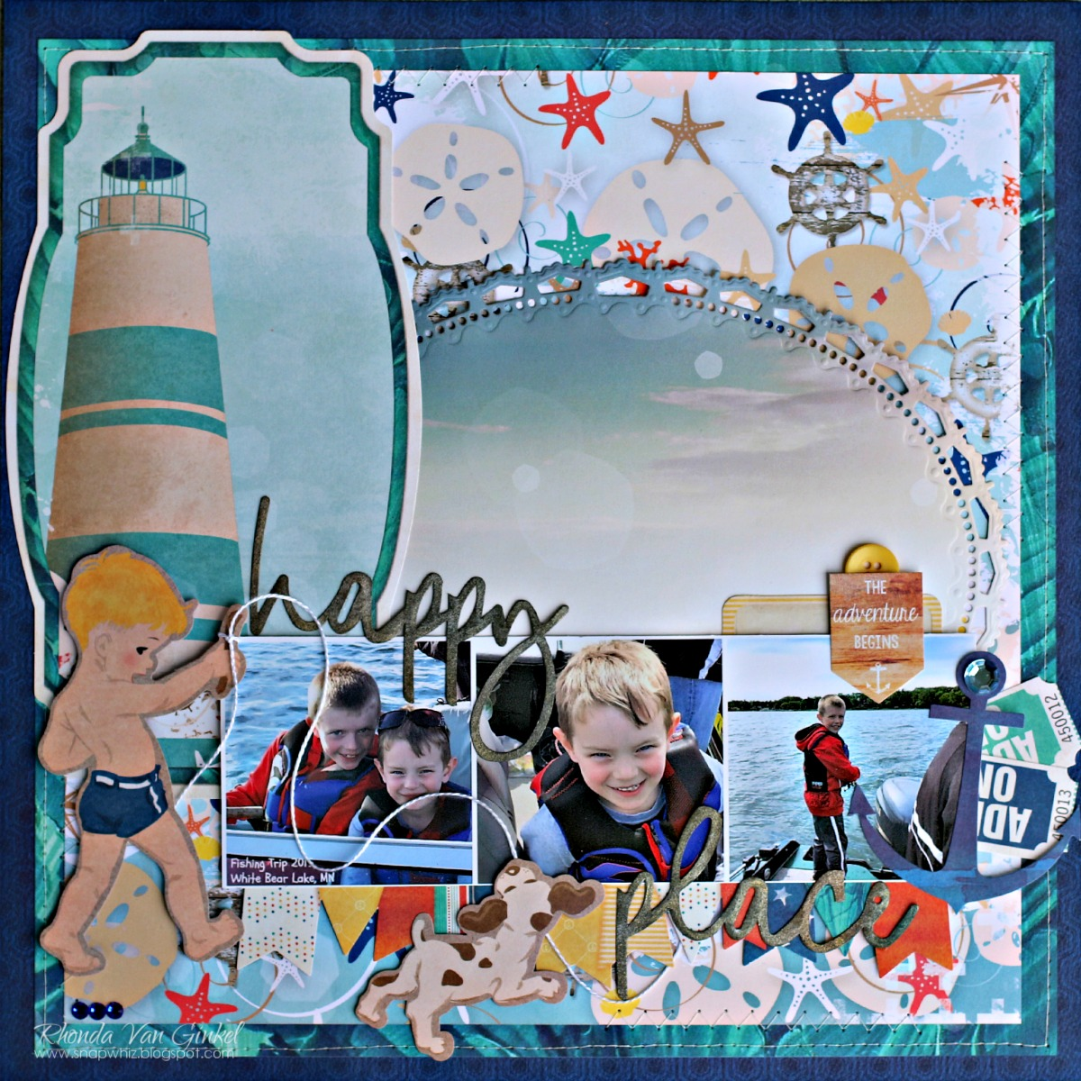Happy Place scrapbook page featuring Boardwalk collection by BoBunny designed by Rhonda Van Ginkel