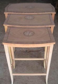 Supplier meja klasik meja klasik susun tiga meja veneer mahogany