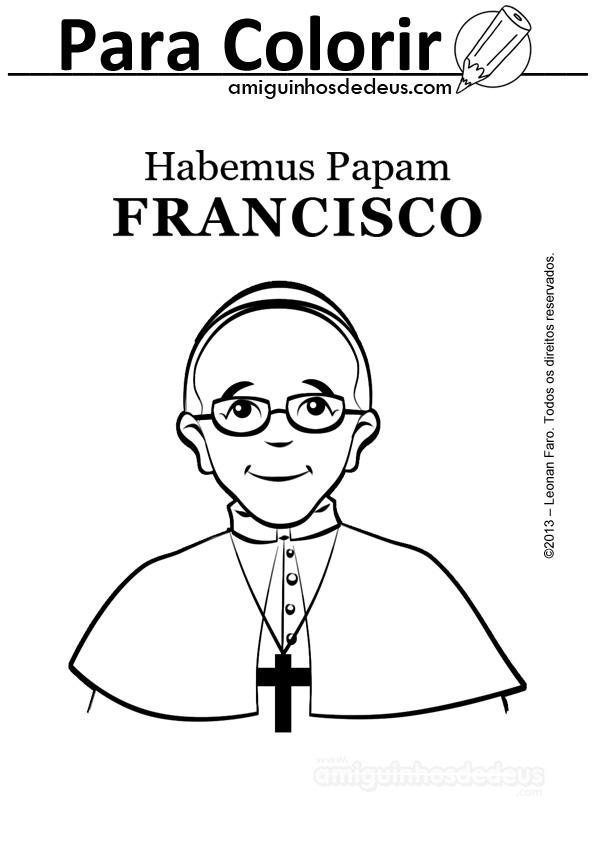 Papa Francisco desenho para colorir