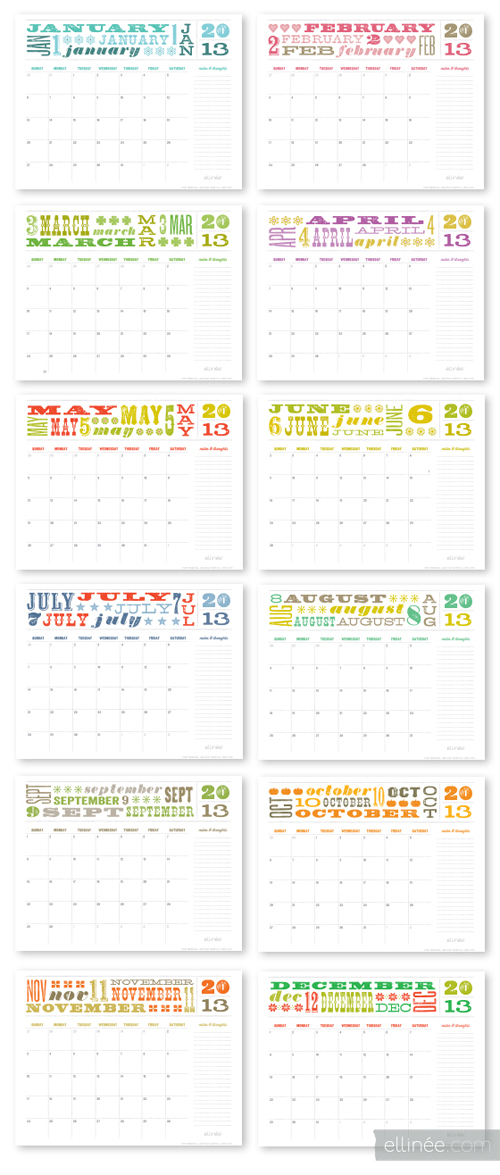 2013CalendarsElinee Happy New Year | Free 2013 Printable Calendars