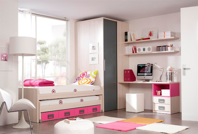Dormitorio juvenil con escritorio integrado dormitorio for Decoracion de dormitorios infantiles pequenos