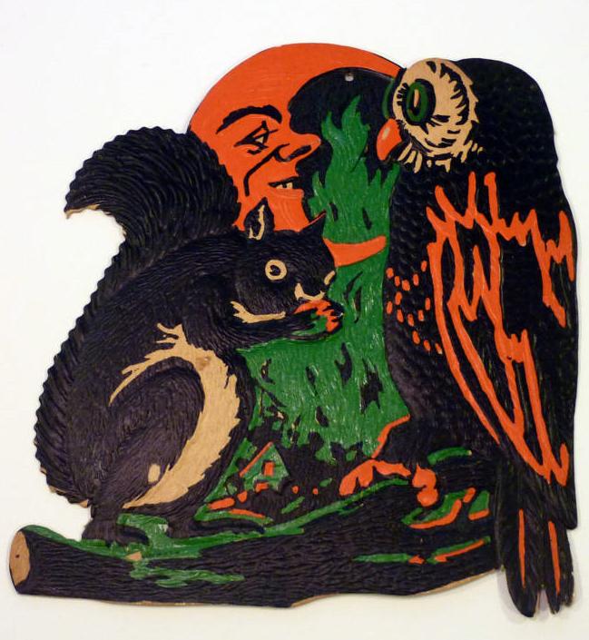 A nostalgic halloween owl squirrel moon vintage for Antique halloween decoration