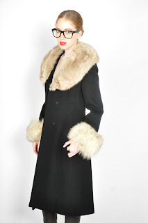 Vintage 1970's black wool princess coat with shaggy fox fur collar and cuffs.
