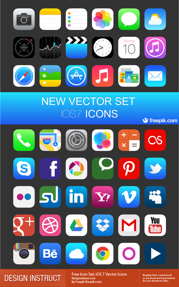 iOS 7 Vector Icons by Freepik