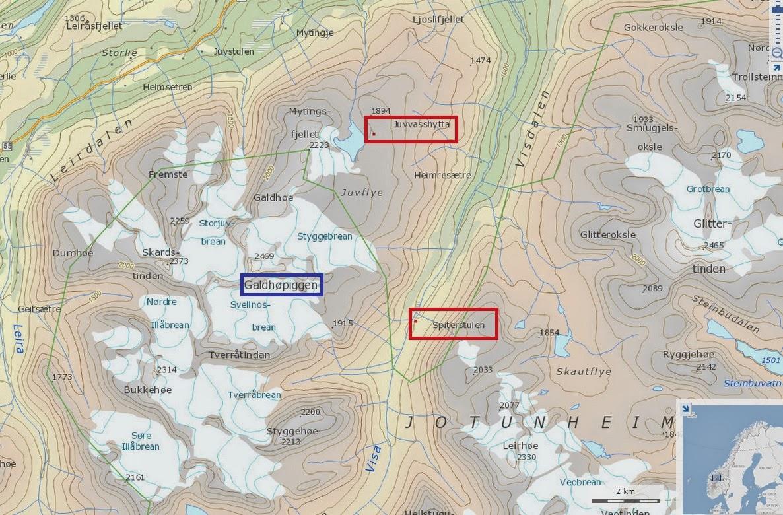 mapa Ascension al Galdhopiggen