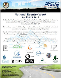 Event: National Reentry Week at Ray Brook FCI, April 24th - 29th