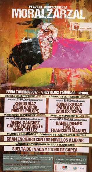 CARTEL: MORALZARZAL (MADRID) FERIA TAURINA SEPTIEMBRE 2017.