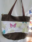 Butterflies on Brown Canvas Tote
