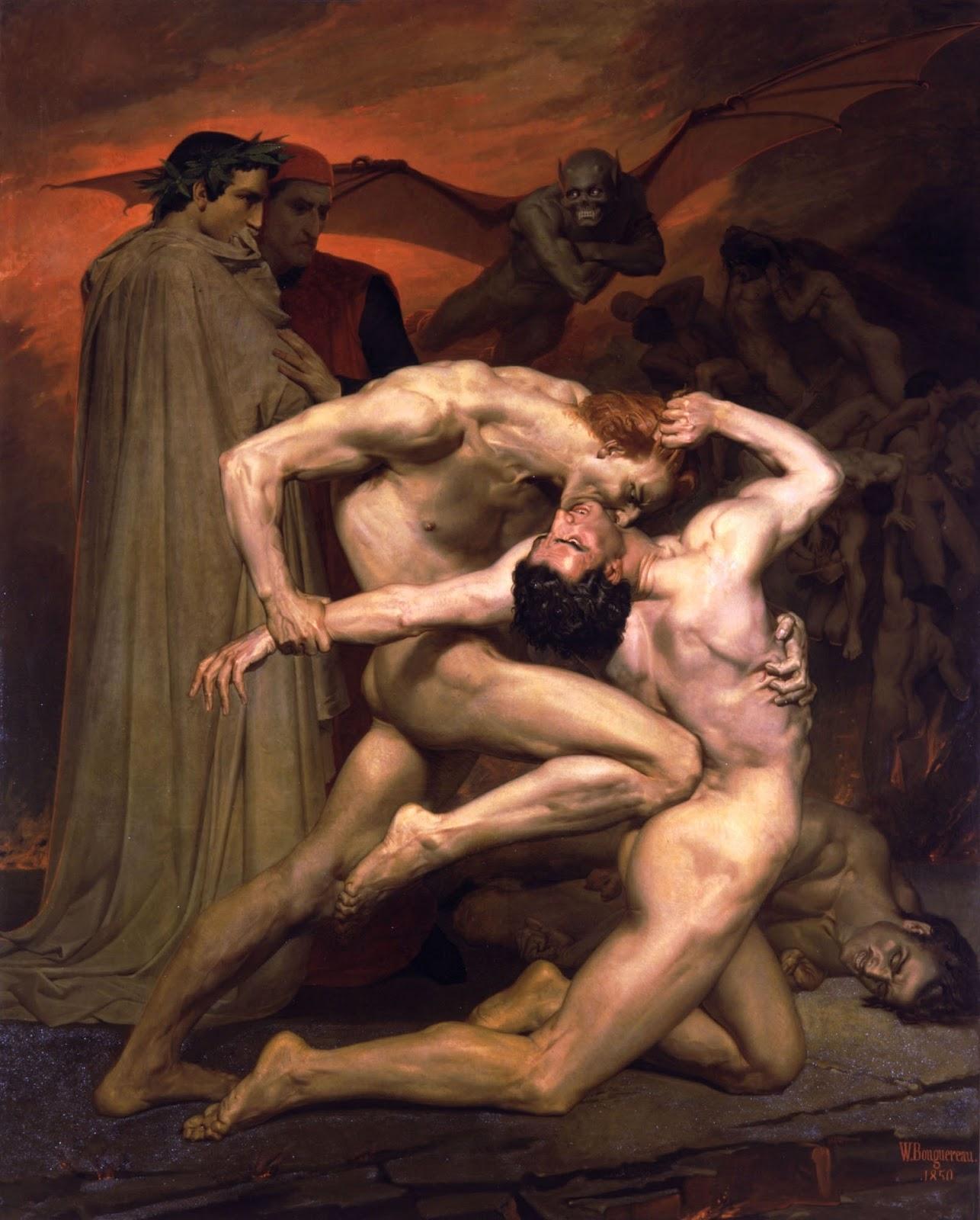 Dante e Virgílio no Inferno. 1850. Óleo sobre tela -  225 x 281 cm