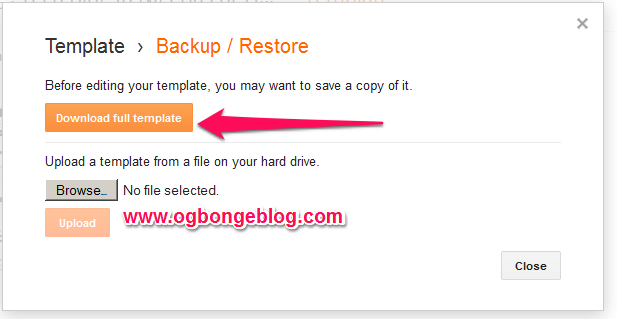 back up blogspot template