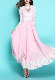 Blush Pink Long-Sleeve Lace Chiffon Maxi