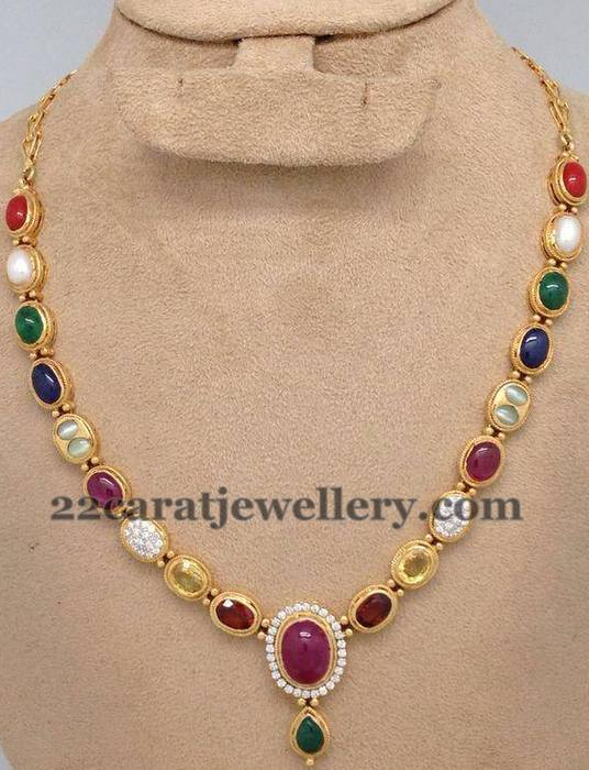 Single Layer Navaratan Necklace
