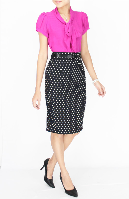 Black Polka Dot Pencil Knee Length Skirt