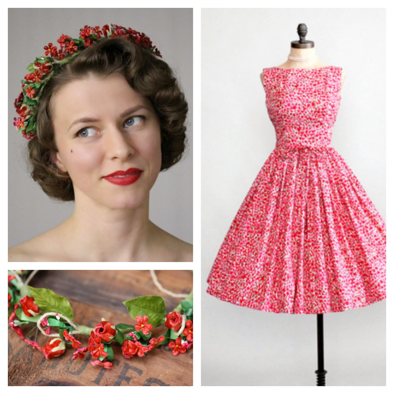 1950s Floral Fantasy #1950s #dress #floral #hair #crown #spring #summer