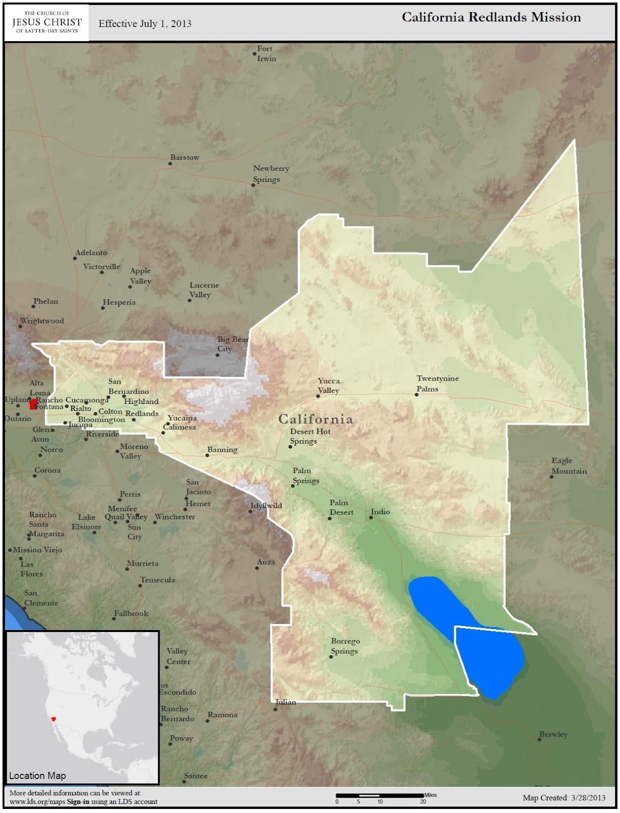 California Redlands Mission California Redlands Mission Map - California missions map
