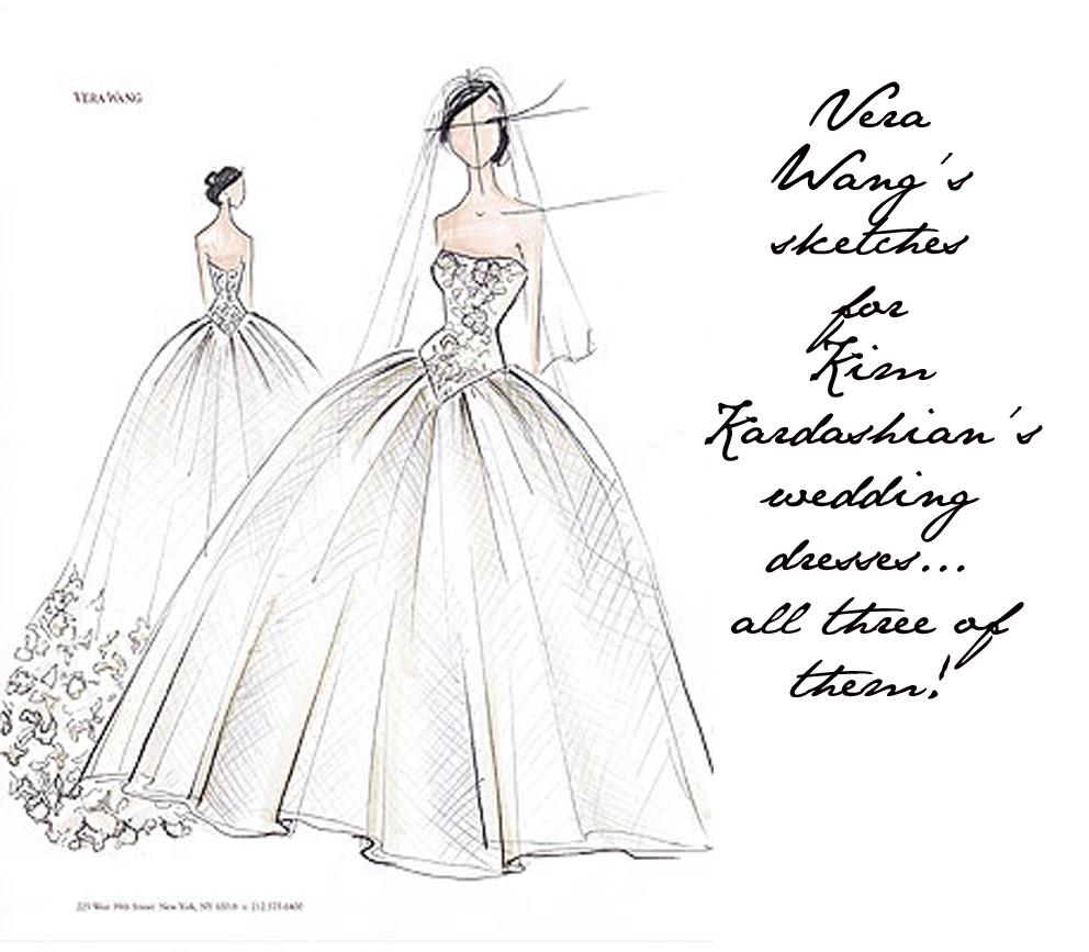 Kim kardashian s vera wang wedding dress sketches revealed