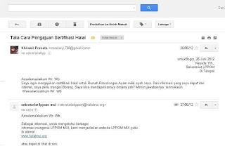 Balasan Email dari MUI