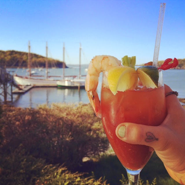 best bloody mary in Maine, Bar Harbor Maine with shrimp, shrimp bloody Mary with sailboats in Maine