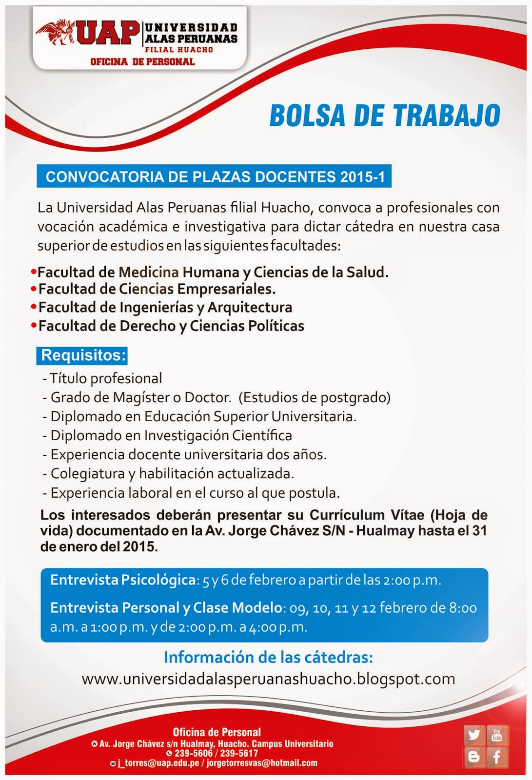 Universidad alas peruanas filial huacho convocatoria de for Convocatoria para plazas docentes