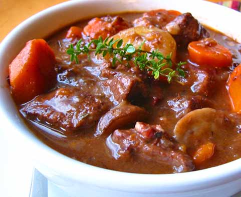 the food boffin beef and red wine casserole served with horseradish
