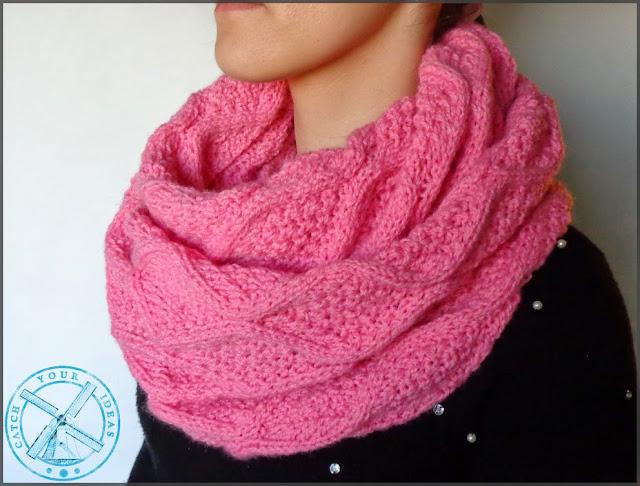 komin, scarf, komin na drutach, komin recznie robiony, komin handmade, robotki na drutach, scarf handmade, knit scarf, knitting, druty, komin druty, rozowy komin, szal na drutach