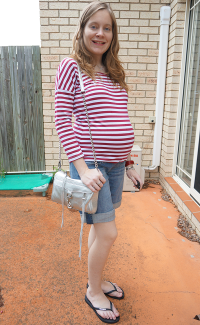 Atmos&here stripe tee long sleeve berry white maternity denim shorts