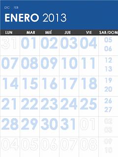 Calendario mensual 2013-2014 lunes a viernes. Publisher