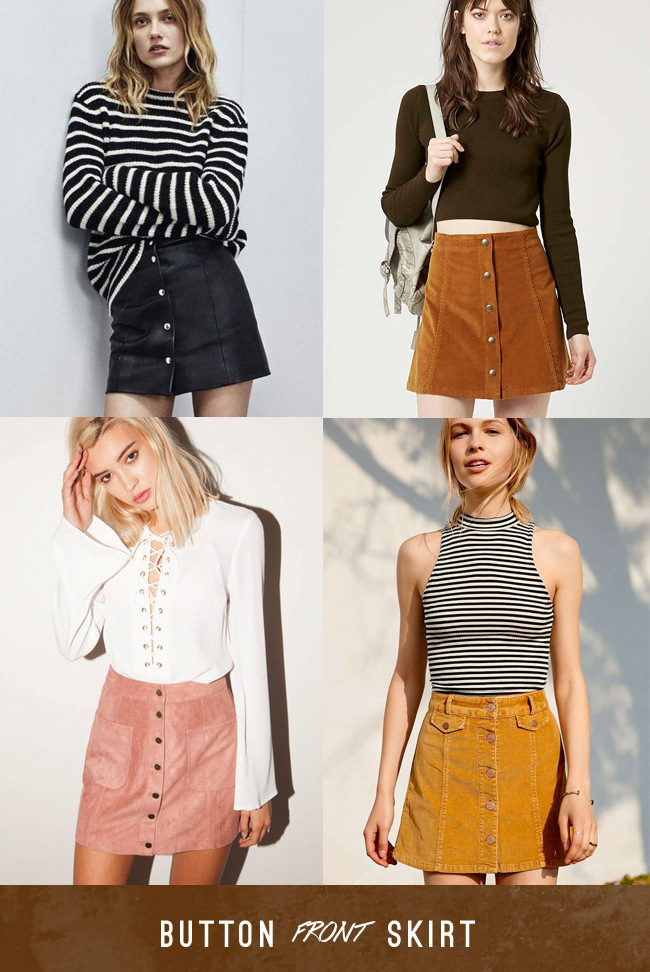 button front skirt trend