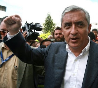 Otto Pérez Molina with clenched fist 'Mano Dura'