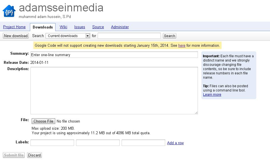 Ilustrasi Gambar Pemberitahuan GoogleCode Akan Ditutup 15 Januari 2014