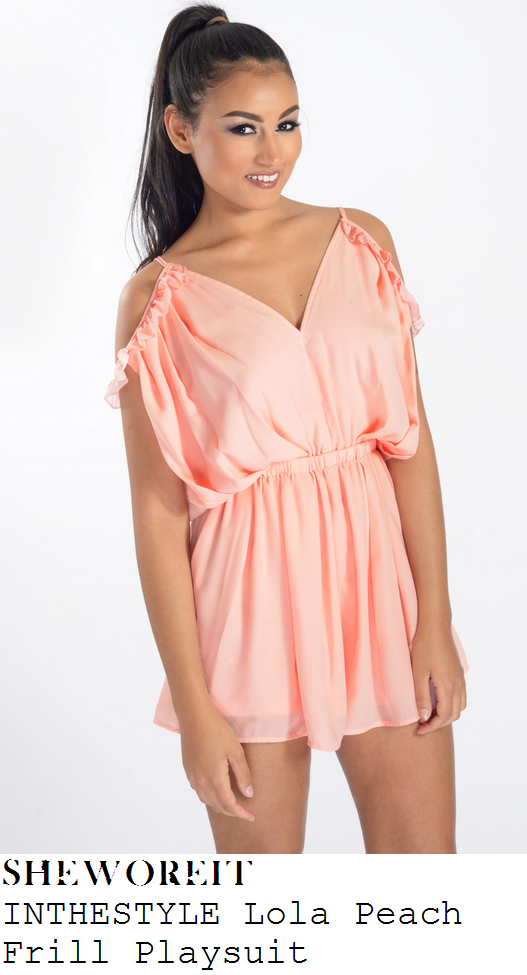 charlotte-crosby-peach-cold-shoulder-frill-playsuit