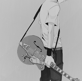 boys/girls and guitar Black and White