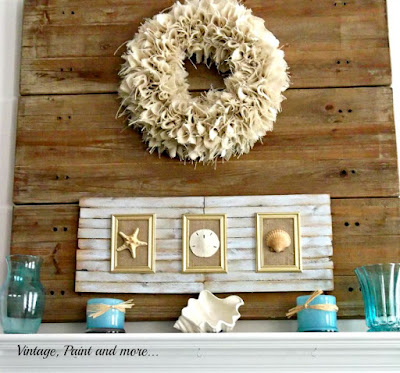 Vintage, Paint and more... Beach inspired mantel with DIY shim shell art
