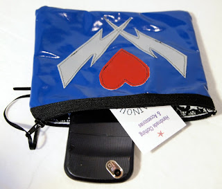 Vinyl Clutch, Heart and Lightning, Red Blue and Silver, Handmade by Pagan Reid