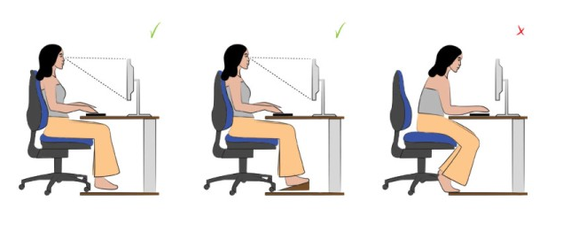 The right position and posture while sit in an office chair