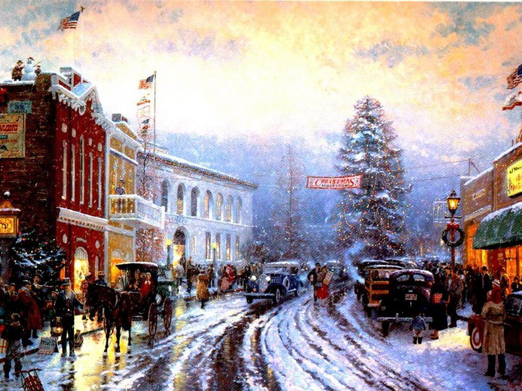 old fashioned christmas town wallpaper - photo #3
