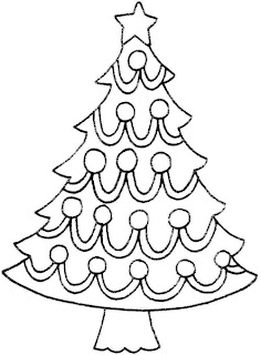 Decorated baubles,Christmas star in the X mas tree decoration coloring page line art image for kids to draw colors