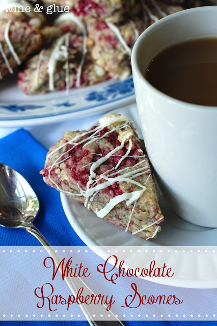 White Chocolate & Raspberry together in a soft, moist, delicious little Scone! via www.wineandglue.com