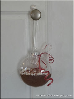 hot chocolate bauble ready for decorating