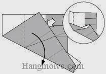 Bước 10: Mở lớp giấy, kéo và gấp sang phải.