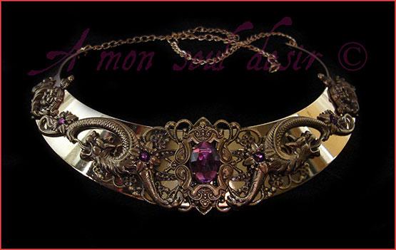 Collier dragon bronze violet améthyste torque médiéval renaissance bijouterie conte et légendes Kelsingra