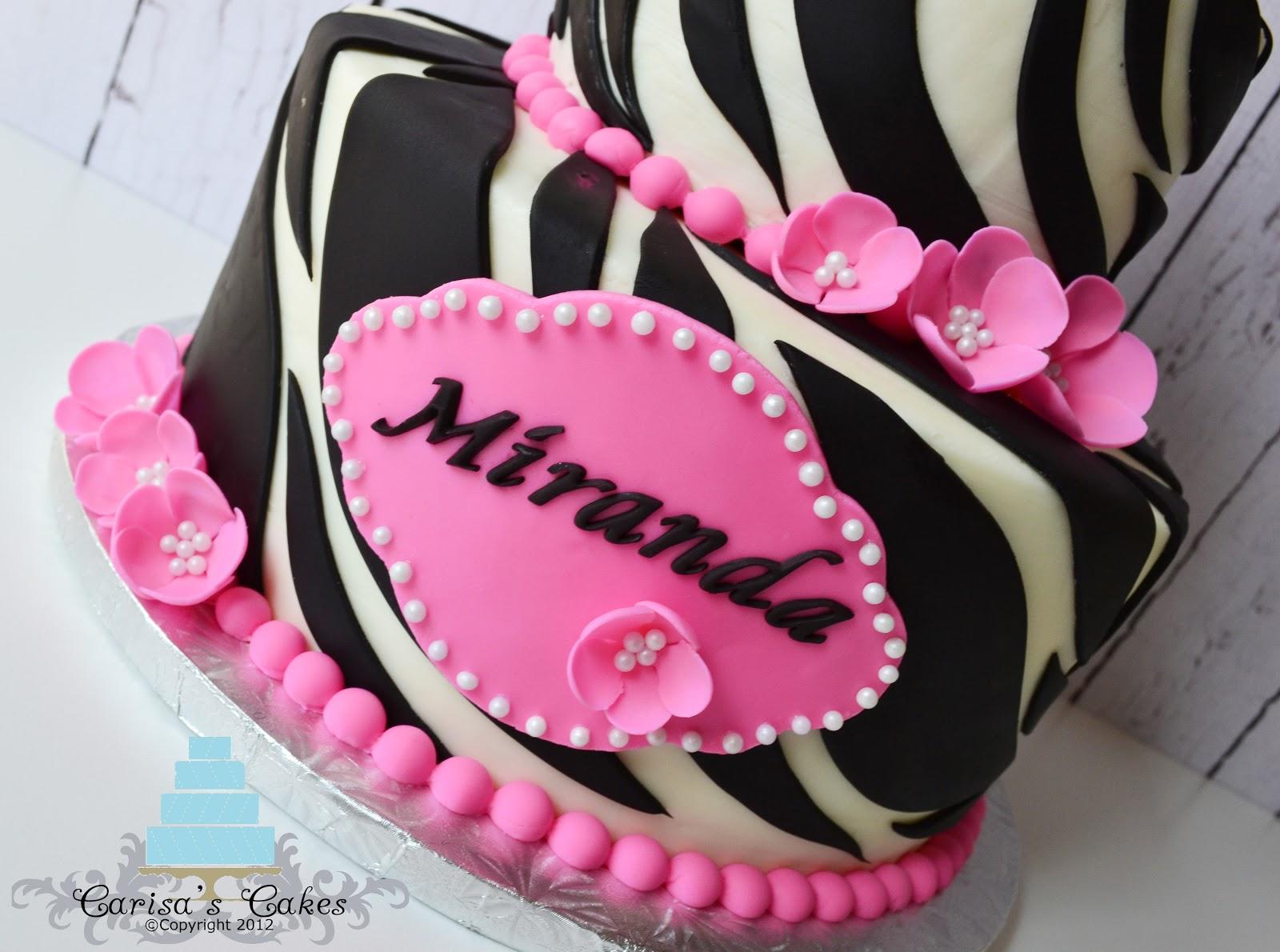 Carisas Cakes Two Tiered Zebra Birthday Cake
