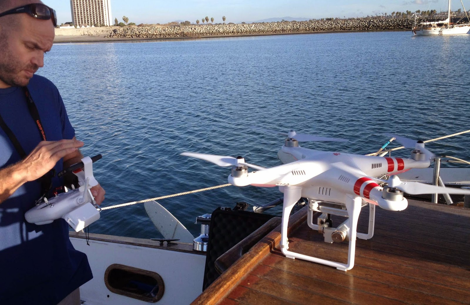 learn to fly a drone from a boat