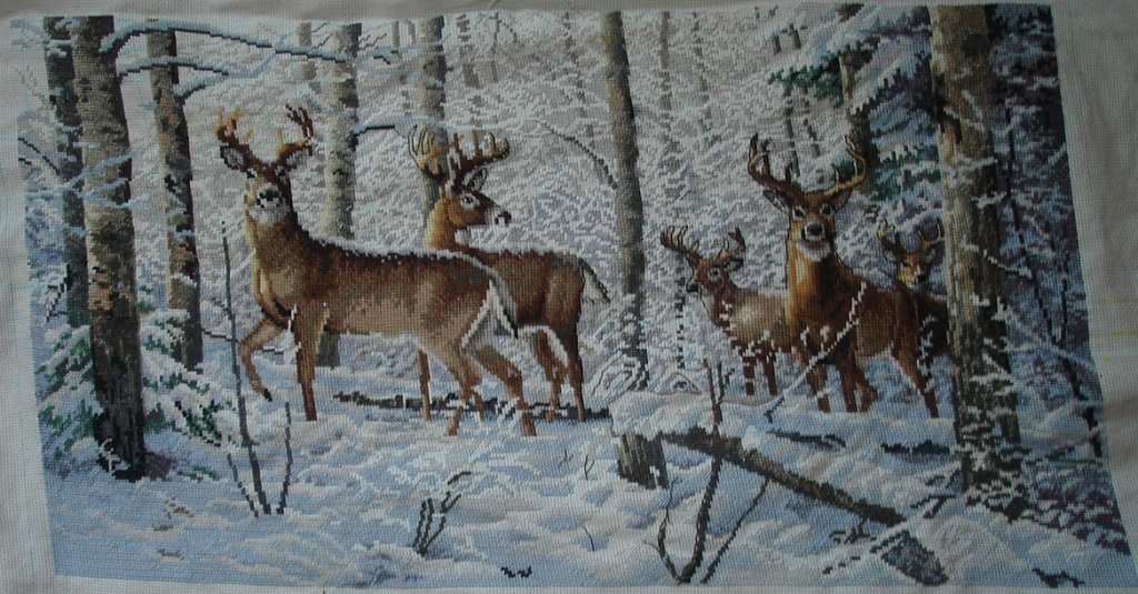 Олени в зимнем лесу.