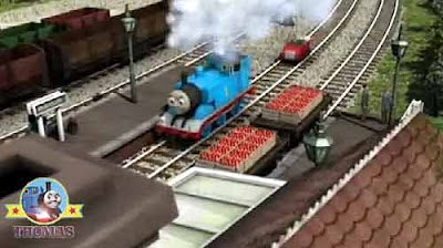 Winston and Thomas the train puffed in Maron station platform steam railway porter cargo deliveries