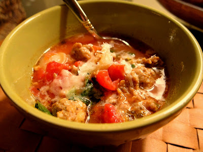 Quick Italian Sausage Soup with fresh grated Parmesan cheese on top